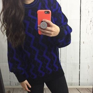 Oversized 90's vintage black & blue winter sweater